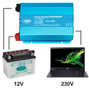 Invertor de tensiune PNI SP1000W cu sinusoida pura, alimentare 12V